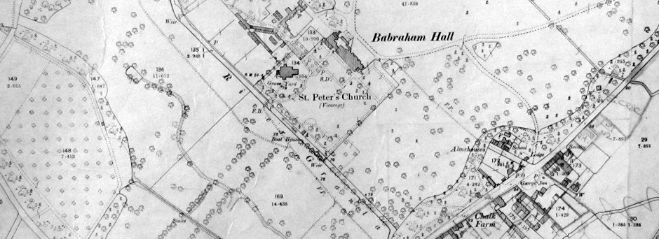 Old Map of St Peter's Church, Babraham